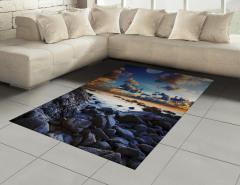 Deniz Kıyısı Manzarası Halı (Kilim) Dolunay Mavi