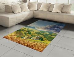 Dağ Manzarası Desenli Halı (Kilim) Dağ Manzaralı