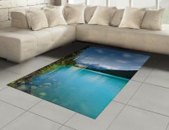 Mavi Göl Halı (Kilim) Orman Göl Mavi Yeşil
