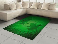 Kurbağa ve Yaprak Halı (Kilim) Yeşil