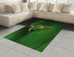 Yeşil Bitki ve Kurbağa Halı (Kilim) Doğa