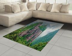 Sisli Dağlar Halı (Kilim) Sisli Dağ Orman Yeşil