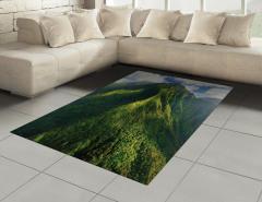 Yeşil Zirveler Halı (Kilim) Dağ Manzaralı Doğada Huzur Temalı
