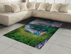 Ormandaki Göl Manzarası Halı (Kilim) Göl Dağ Orman Yeşil Doğa