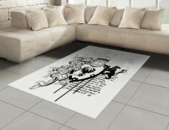 Antik Şövalye Desenli Halı (Kilim) Siyah Beyaz