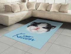 Yavru Kedicik Desenli Halı (Kilim) Yavru Kedicik Desenli Mavi