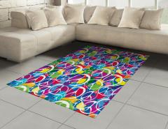 Rengarenk Barış Desenli Halı (Kilim) Dekoratif