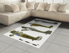 Eski Savaş Uçakları Halı (Kilim) Eski Savaş Uçakları Yeşil