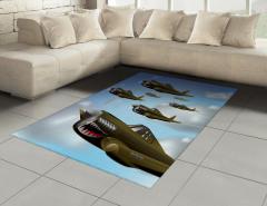 Savaş Uçakları Halı (Kilim) Yeşil Savaş Uçakları Bulut