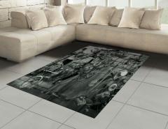 Fabrika Temalı Halı (Kilim) Antik Siyah Beyaz