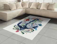 Çapa Desenli Halı (Kilim) Sulu Boya Etkili Mavi