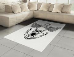 Kuru Kafa Desenli Halı (Kilim) Siyah Beyaz Çapa