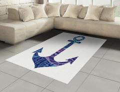 Mavi Çapa Desenli Halı (Kilim) Deniz Gemi Beyaz