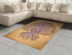 Kahverengi Ağaç Desenli Halı (Kilim) Şık Turuncu