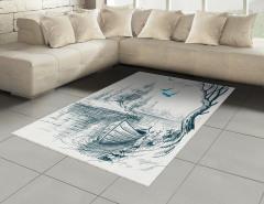 Nehir ve Tekne Desenli Halı (Kilim) Şık Tasarım