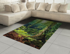 Orman Manzaralı Halı (Kilim) Doğa Temalı Yeşil