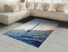 Yelkenli Deniz Temalı Halı (Kilim) Lacivert