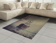 Korsan Gemisi Desenli Halı (Kilim) Kahverengi Antika