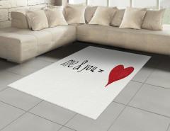 Aşk Desenli Halı (Kilim) Kırmızı Beyaz Kalp