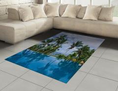Havuz Manzaralı Halı (Kilim) Mavi Gökyüzü Palmiye