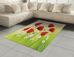 Baharın Çiçekleri Halı (Kilim) Gelincik Papatya