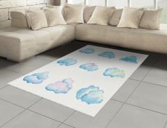 Bulut Desenli Halı (Kilim) Turkuaz Beyaz Şık Tasarım