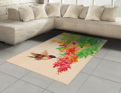 Kuş ve Çiçek Desenli Halı (Kilim) Rengarenk Çeyizlik