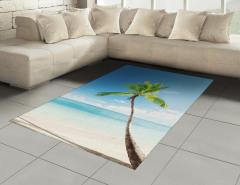 Deniz Manzaralı Halı (Kilim) Palmiye Kumsal Turkuaz