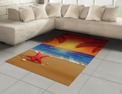 Denizde Gün Batımı Halı (Kilim) Kırmızı Mavi