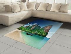 Cennet Plajı Temalı Halı (Kilim) Deniz Yeşil Mavi