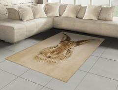 Tavşan Portreli Halı (Kilim) Kahverengi Nostaljik