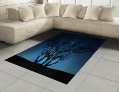 Ay Işığı ve Yıldızlar Halı (Kilim) Ağaç Siyah