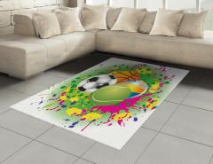 Rengarenk Toplar Halı (Kilim) Futbol Basketbol Voleybol Top