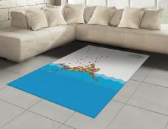 Rengarenk Yüzücü ve Deniz Desenli Halı (Kilim) Mavi