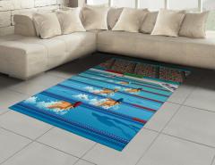 Kelebek Yüzme ve Havuz Desenli Halı (Kilim) Mavi