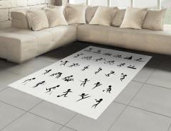 Dekoratif Sporcu Desenli Halı (Kilim) Siyah Beyaz