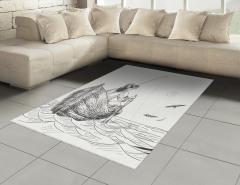 Şık Balıkçı ve Tekne Desenli Halı (Kilim) Siyah Beyaz