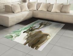 Sulu Boya Geyik Desenli Halı (Kilim) Geyik Desenli Pastel