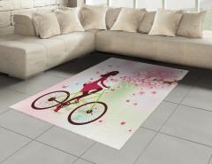 Bisikletli Kız Desenli Halı (Kilim) Bahar Çiçekleri ve Bisikletli Kız