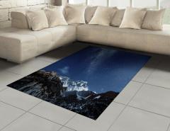 Yıldız ve Dağ Temalı Halı (Kilim) Lacivert Gökyüzü