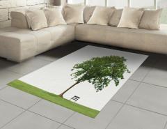 Parktaki Ağaç Halı (Kilim) Ağaç Yeşil Beyaz