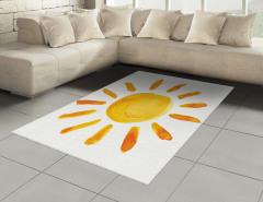 Sulu Boya Güneş Desenli Halı (Kilim) Güneş Deseni Sarı
