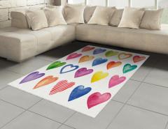 Sulu Boya Kalp Desenli Halı (Kilim) Renkli Kalp Deseni