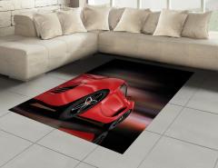 Şık Yarış Arabası Halı (Kilim) Siyah