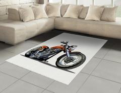 Motosiklet Desenli Halı (Kilim) Hız Severlere Özel