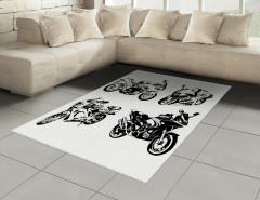 Motosiklet Severler İçin Halı (Kilim) Siyah Beyaz