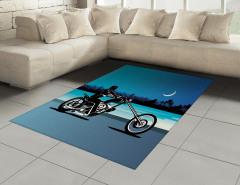 Motosiklet Desenli Halı (Kilim) Mavi Siyah Yıldız Ay