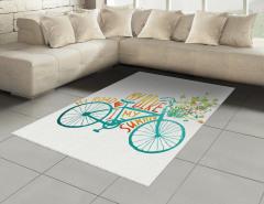 Bisiklet ve Çiçek Desenli Halı (Kilim) Mavi Yeşil
