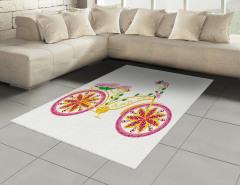 Pembe Bisiklet Desenli Halı (Kilim) Çiçek Sarı Yeşil