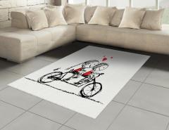 Bisikletli Aşıklar Temalı Halı (Kilim) Siyah Kırmızı